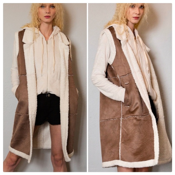 POL Jackets & Blazers - POL Brown Sugar Suede & Sherpa Long Duster Vest